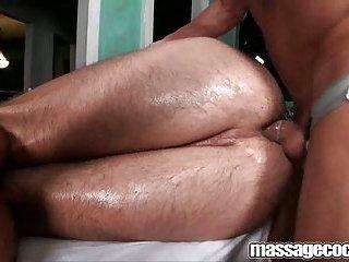Hot gay sucking after a massage