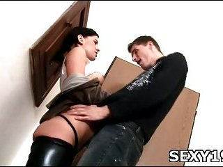 As soon as naked girl stands doggystyle guy fucks