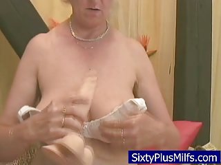 Granny fucking with her new toy dick