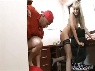Nataly is a blonde secretary