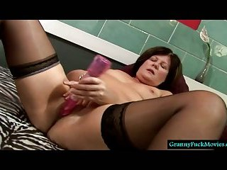 Granny cumming with a new fuck toy