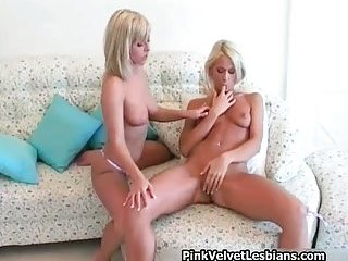 Two lesbian blond babes, great tits rubbing, hot pussy licking