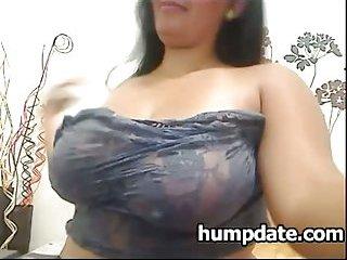 Sexy chubby babe with big tits masturbates