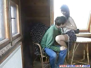 Russian mom fucked by sons friend