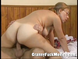 Real old slut playing cowgirl