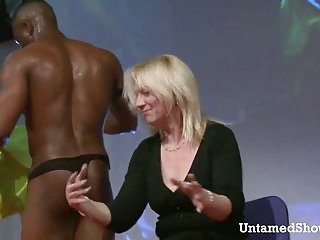 Black male strippers showing off their sexy bodies