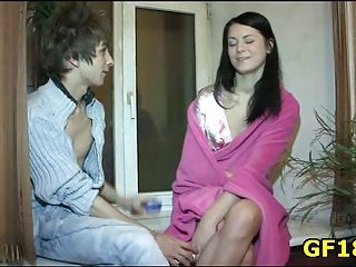 He pushes hard cock in pussy of happy teen cutie