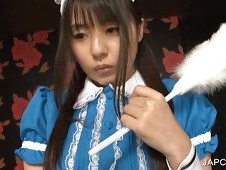 Japanese maiden shows small tits