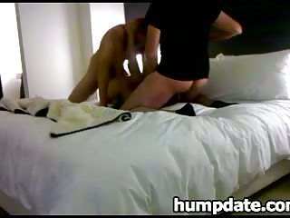 Sexy babe gets nailed by her two hump dates