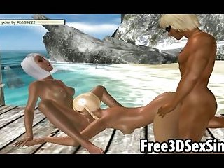 Two sexy 3D cartoon babes getting fucked