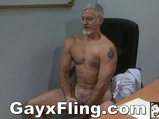Gay Old Guy Masturbating In Office