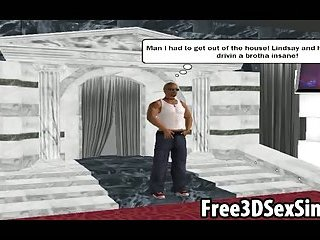 Foxy 3D cartoon babe sucks and fucks a black stud