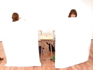 Cute Jap teen sluts classroom strip