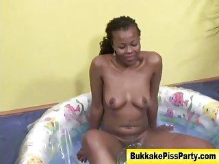 Black golden shower bitch gets soaked