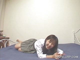 Japanese teen spreading leggs