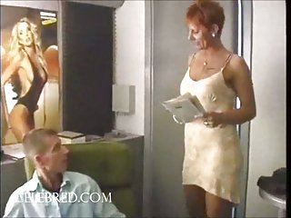 Redheaded COUGAR Fucks For Job