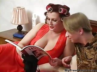 Mature Olga gives deep sucking