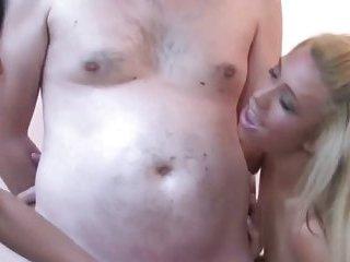 Sexy CFNM babes tugging on dicks
