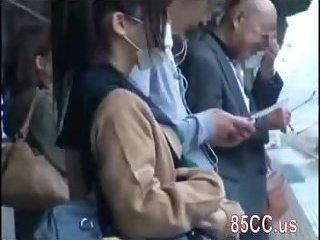Thumb Schoolgirl creampie fucked by geek bus