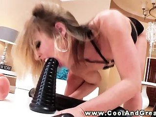 Blonde babe loves her toys to play with by herself