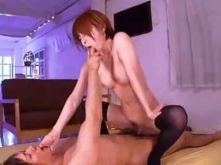 Redhead Japanese riding cock