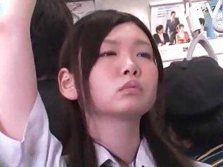 Japanese teen gets boobs cummed