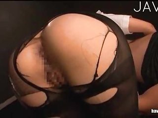 Booty Jap in ripped pantyhose gets fingered