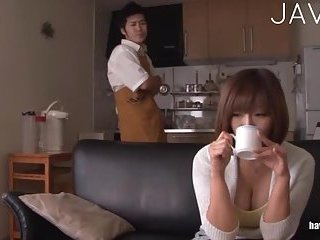 Busty Japanese has hairy pussy