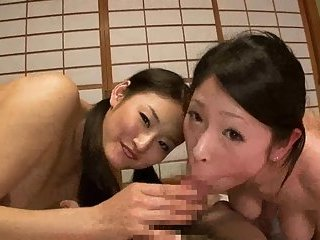 Japanese gals share POV cock