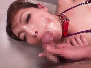 Busty japanese gets her face cummed