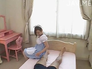Japanese maid licking dude ass
