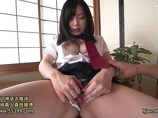 Busty Japanese slut masturbating