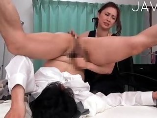 Cutie jerking her dudes cock and fingering his ass