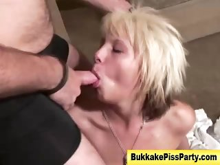 Blonde pissing bitch gets soaked