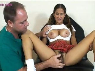 The tits come out as this horny girl fucks