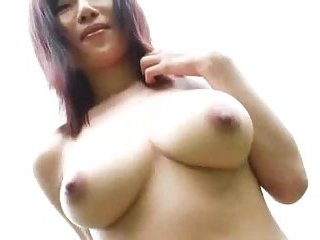 Japanese busty babe outdoor