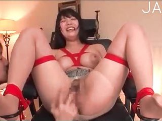 Japanese in ripped pantyhose toyed scene 3