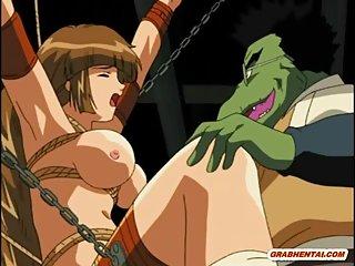 Bondage hentai monster drilled hard!