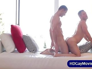 Lover takes partners cock in his love hole!