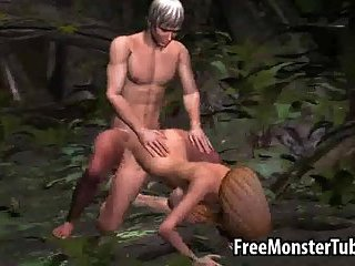 Sexy 3D cartoon blonde gets drilled hard outdoors