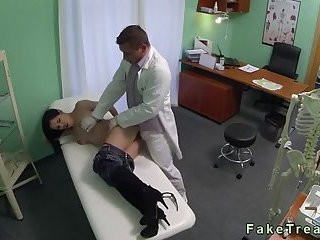 Small tits brunette drilled by doctor