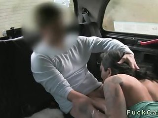 Huge tits tattooed amateur sucks and gets cum in fake taxi