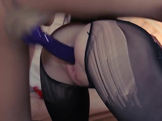 Gentle blondie lets drill by big strap-on