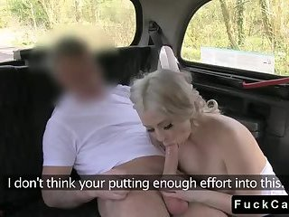 Blonde pussy banged and cummed in fake taxi