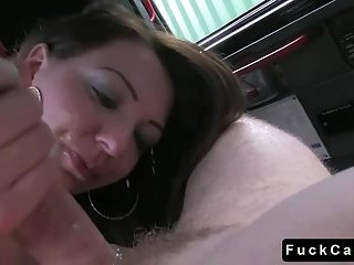 Brunette babe drilled on the floor in fake taxi