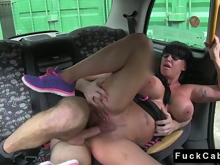 Huge tits babe drilled in and out of fake taxi