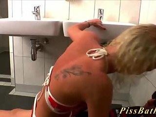 Fetish hoe head in toilet