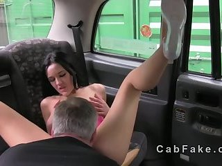 Brunette with small tits bangs in fake taxi