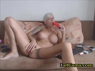 Sexy blonde girl private in webcam show