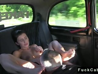 Stunning brunette bangs in fake taxi
